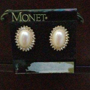 Monet pearl and faux diamond post earrings